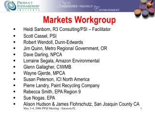 Markets Workgroup