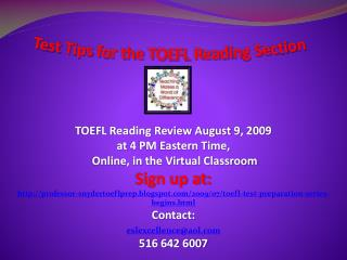 Test Tips for the TOEFL Reading Section