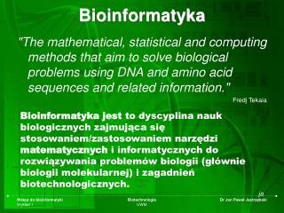 Bioinformatyka