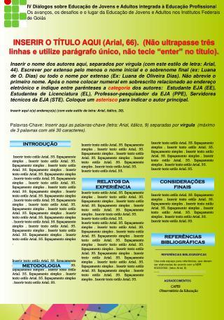 IV Di�logos sobre Educa��o de Jovens e Adultos integrada � Educa��o Profissiona l