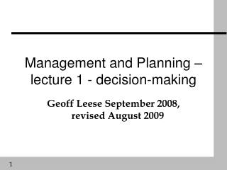 Management and Planning – lecture 1 - decision-making