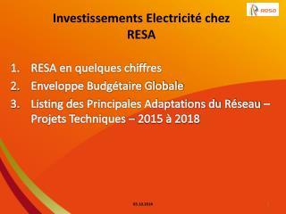 Investissements Electricité chez RESA