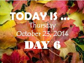 Thursday October 23, 2014 DAY 6