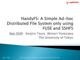 HandyFS: A Simple Ad-hoc Distributed File System only using FUSE and SSHFS