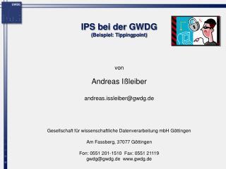 IPS bei der GWDG  (Beispiel: Tippingpoint)