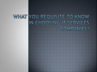 What You Requisite To Know In Choosing IT Services Companies