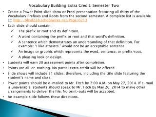 Vocabulary Building Extra Credit: Semester Two