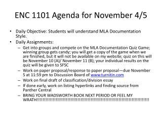 ENC 1101 Agenda for November 4/5