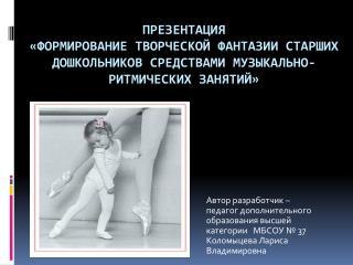 Автор разработчик –  педагог дополнительного  образования высшей  категории   МБСОУ № 37