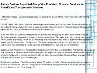 Patrick Gaskins Appointed Group Vice President