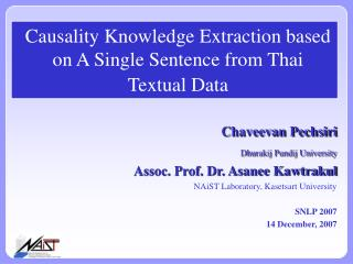 Causality Knowledge Extraction based on A Single Sentence from Thai Textual Data
