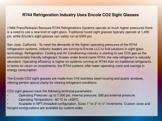R744 Refrigeration Industry Uses Encole CO2 Sight Glasses