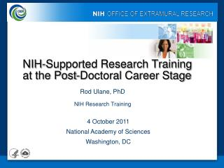 NIH-Supported Research Training at the Post-Doctoral Career Stage