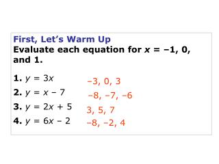 First, Let's Warm Up Evaluate each equation for  x  = –1, 0, and 1. 1. y  = 3 x 2. y  =  x  – 7