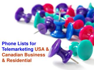 Phone Lists for Telemarketing USA & Canadian Business & Resi