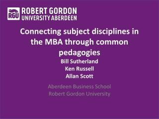 Aberdeen Business School Robert Gordon University