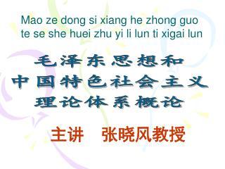 毛泽东思想和 中国特色社会主义 理论体系概论