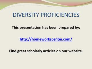 DIVERSITY PROFICIENCIES
