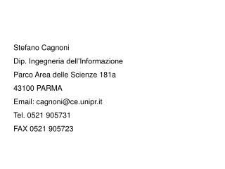 Stefano Cagnoni Dip. Ingegneria dell'Informazione Parco Area delle Scienze 181a 43100 PARMA