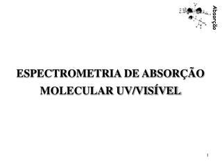 ESPECTROMETRIA DE ABSORÇÃO MOLECULAR UV/VISÍVEL