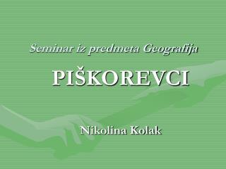 Seminar iz predmeta Geografija
