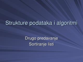 Strukture podataka i algoritmi