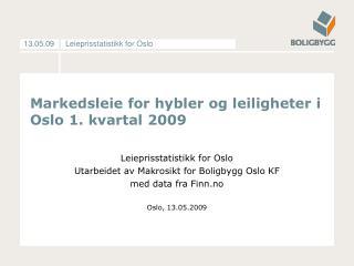 Markedsleie for hybler og leiligheter i Oslo 1. kvartal 2009