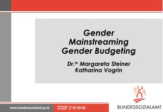 Gender Mainstreaming Gender Budgeting Dr. in  Margareta Steiner Katharina Vogrin