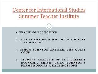 Center for International Studies Summer Teacher Institute