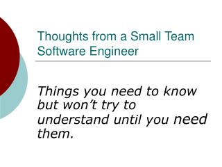 Thoughts from a Small Team Software Engineer