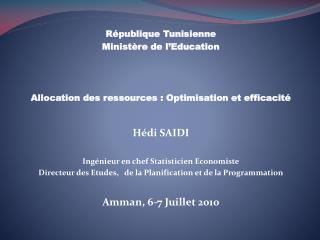 République Tunisienne Ministère de l'Education
