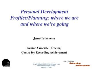 Personal Development Profiles