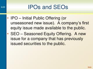IPOs and SEOs