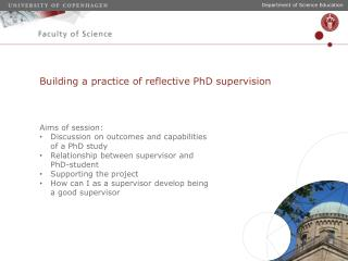Building a practice of reflective PhD supervision