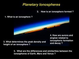 Planetary Ionospheres
