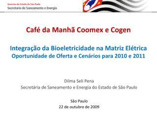 Dilma Seli Pena Secretária de Saneamento e Energia do Estado de São Paulo São Paulo