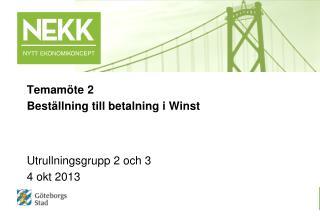 Temamöte 2 Beställning till betalning i  Winst Utrullningsgrupp 2 och 3  4 okt 2013