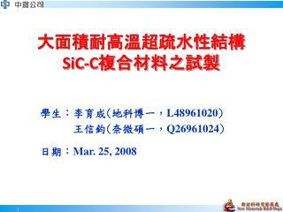 大面積耐高溫超疏水性結構 SiC-C 複合材料之試製