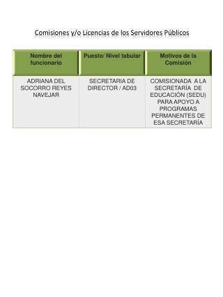 Comisiones y/o Licencias de los Servidores Públicos