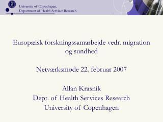 Europ isk forskningssamarbejde vedr. migration og sundhed