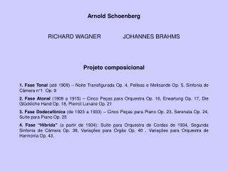 Arnold Schoenberg RICHARD WAGNER              JOHANNES BRAHMS Projeto composicional