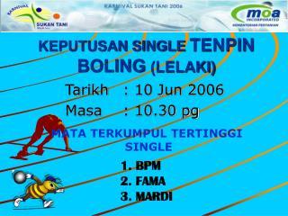 KEPUTUSAN SINGLE TENPIN BOLING  (LELAKI)