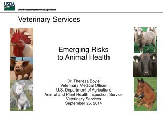 Emerging Risks  to  Animal Health Dr. Theresa Boyle Veterinary Medical Officer