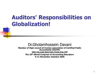 Auditors' Responsibilities on Globalization!