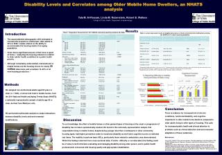 Disability Levels and Correlates among Older Mobile Home Dwellers, an NHATS analysis