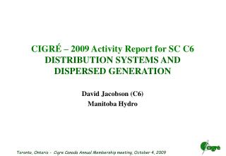 CIGR    2009 Activity Report for SC C6 DISTRIBUTION SYSTEMS AND DISPERSED GENERATION