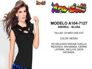 MODELO A104-7127 ANDREA  –  BLUSA TALLAS: CH MED GDE EXT COLOR: NEGRO