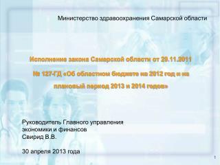 Руководитель Главного управления  экономики и финансов Свирид В.В. 30 апреля 2013 года