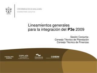 Lineamientos  generales para la integración del  P3e  2009 Sesión Conjunta: