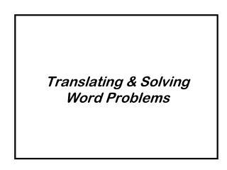 Translating & Solving Word Problems
